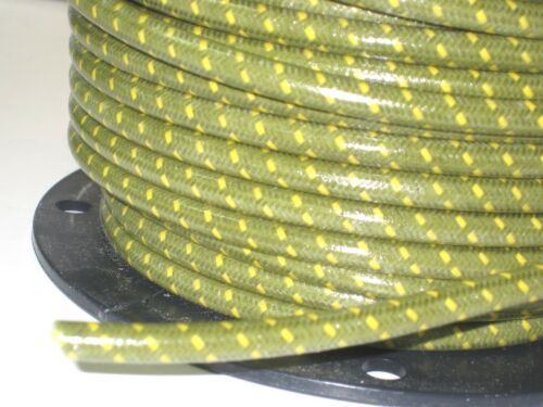 Green woven cotton covered Spark Plug Wire 7mm stranded copper Core By The Foot