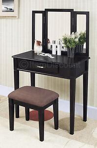 Modern Tri Fold 3 Mirror Bedroom Vanity Set Table Drawer Bench Hair Makeup