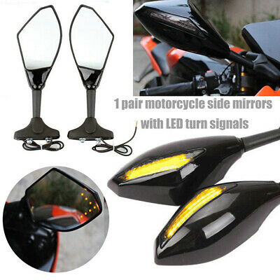 Black Side Mirrors Smoke Turn Signals Led For Suzuki GSXR 600 750 1000 Honda CHL