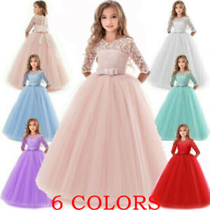 Girl-Flower-Dress-Princess-Party-Wedding-Bridesmaid-Formal-Gown-Kid-Long-Dresses