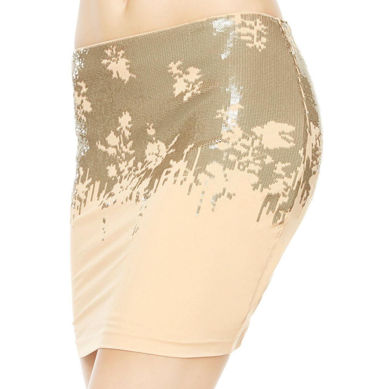 La Perla Ombre Floral Sequined Short Skirt Beige