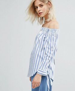 f810ceb4ad5b6 BNWT Mango Woman Striped and Skeeve Tie Off-Shoulder Blouse Size M ...