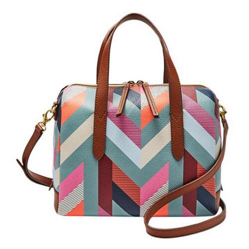e50448edf8ea Fossil Women s Sydney Satchel Crossbody Handbag Purse Multicolor Chevron  for sale online