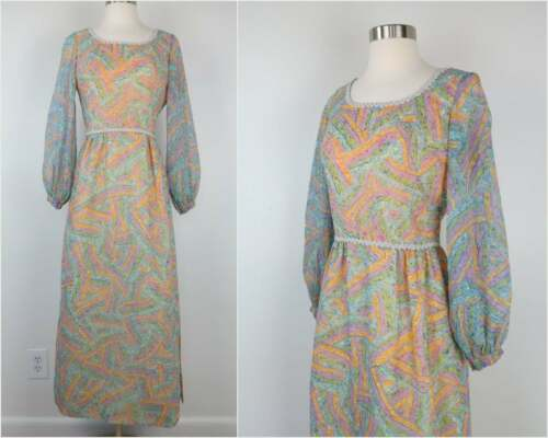 Vintage 60s/70s Pastel Juliet Dress with Cuff Slee
