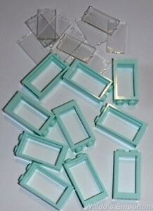 SAND GREEN Lego WINDOW FRAME 1X2X3 with Clear Glass New 60593 Lot of 10