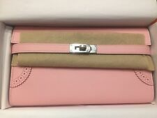 Authentic Brand New Hermes Kelly Long Wallet Ghillies Rose Sakura PHW