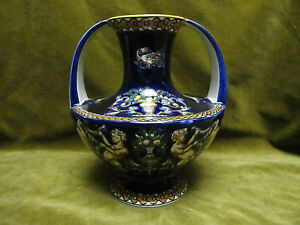 "Gien faience 2 handles vase blue renaissance pattern (renaissance bleue) - France - Commentaires du vendeur : ""very good condition"" - France"