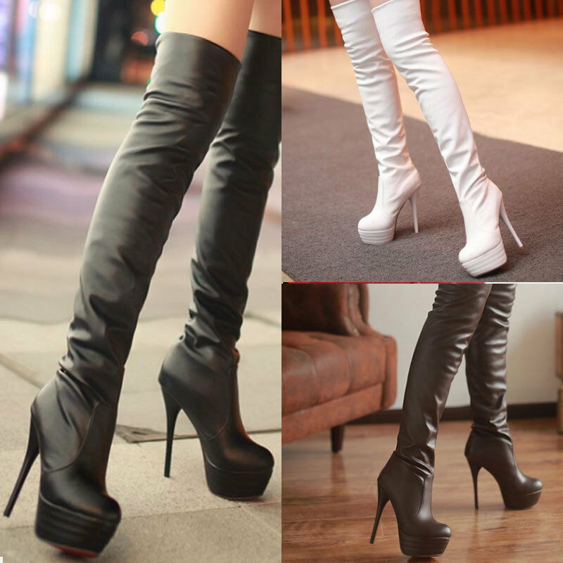 Women Ladies Sexy Party High Heel Over Knee Long Boots Stretchy Thigh PU shoes