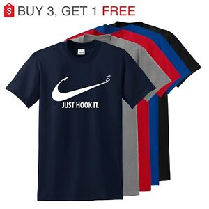 Nike-Slogan-t-shirt-Just-Hook-It-ADULT-funny-T-shirt-Meme-Swoosh-Sports-Men-039-s