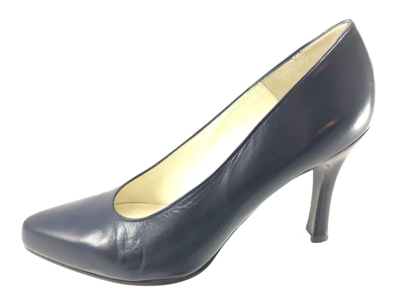 SH28 Charles Jourdan Paris 8.5M Dark bluee Leather Pumps High Heels