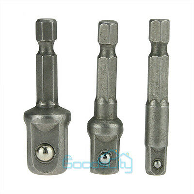 "3 Sizes Socket Adapter Set Hex Shank to 1/4"" 3/8"" 1/2"" Impact Driver Drill BIts"