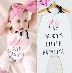 60d1269d92c8 US Daddy s Girl Toddler Baby Halter Romper Bodysuit Jumpsuit Outfit ...