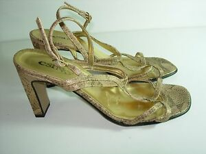 WOMENS-GOLD-TAN-BLACK-CAREER-SANDALS-SLINGBACK-STRAPPY-HEELS-SHOES-SIZE-40-9-M