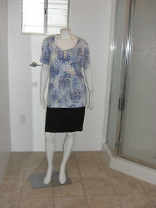 KAREN-SCOTT-Woman-Blue-Dots-Short-Sleeves-Stretch-Knit-Top-Sz-1X