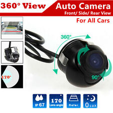 Car Front Reverse 360° CCD HD Camera Rear View Backup Cam 170° Angle Waterproof