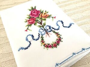 Vintage-CROSS-STITCH-PILLOWCASE-Flowers-w-Blue-Bow-Wreath-Roses-Handmade-READ