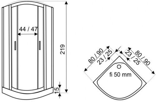 DUSCHTEMPEL FERTIGDUSCHE DUSCHKABINE ECHT GLAS ECK KOMPLETT DUSCHE 90cm