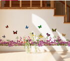 Purple Flower Butterfly Wall Border Decal Removable Windows Stickers Kids Decor