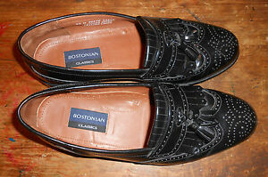 mens Bostonian Classics black leather loafer shoes Size 8 1/2 M