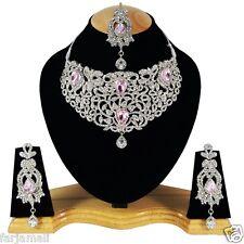 Silver Plated Party wear Kundan Zerconic Diamond Style Designer Necklace Set