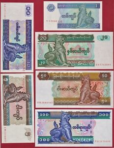 6-MYANMAR-BURMA-UNC-NOTES-1-96-5-95-10-97-20-84-50-94-amp-100-Kyats-1996
