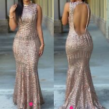 ELEGANT EVENING GOLD SEQUIN EMBELLISHED FISHTAIL MERMAID DRESS SIZE S UK 8-10
