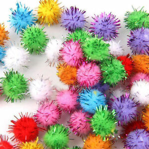 Lots-of-100-Mini-Sparkly-Glitter-Tinsel-Pompom-Balls-Small-Pom-Ball-Pet-Cat-Toys