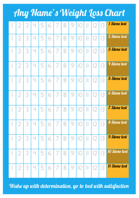 personalised weight loss chart 11 stone laminated with 2 sheets