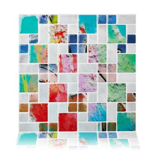 Colorful DIY Wall Tile Peel /& Stick Self Adhesive Wall Tile Backsplash 10 Tiles