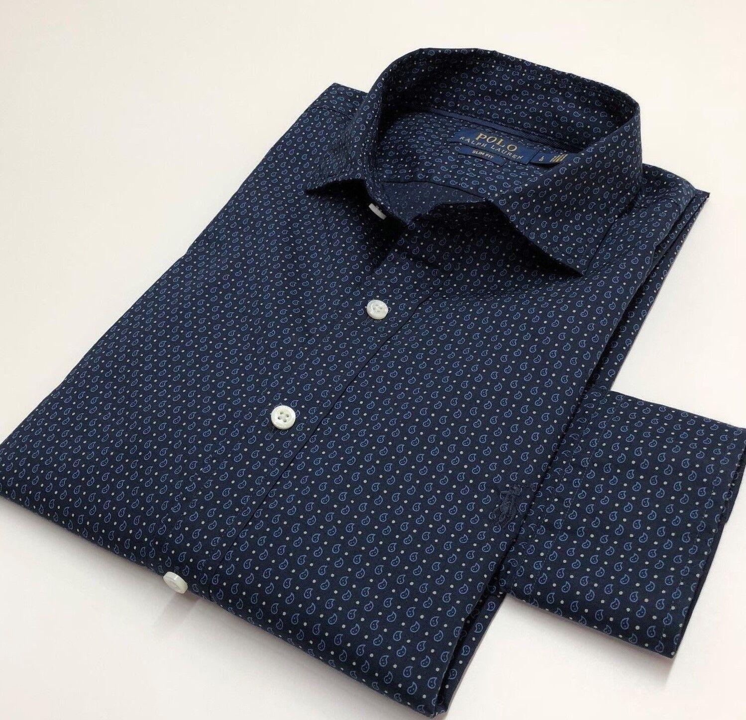 POLO Ralph Lauren Camicia Casual Da Uomo Stampata Blu L