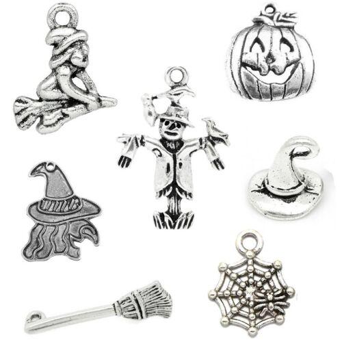 Halloween Theme Mixed Charm Set 7 Piece Tibetan Silver Pendant Charms