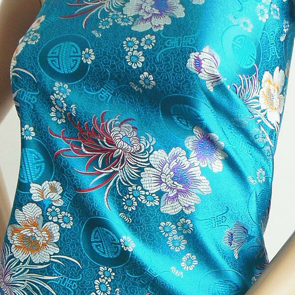 CBS 521 FAUX SILK CHINESE BROCADE FABRIC BLUE CHRYSATHEMUM FLOWER N LONGVITY