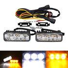 2x High Power 6 LED Daytime Running Light Car White DRL & Amber Turn Signal 12V