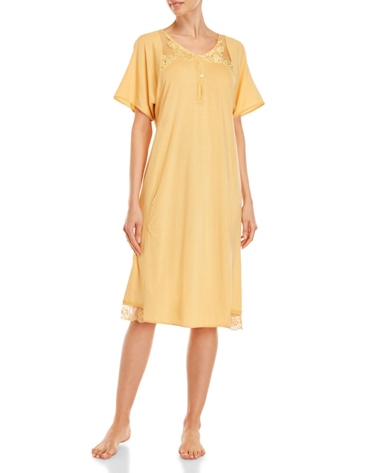 La Perla Villa Toscana L Nightgown Yellow Lace Trim Short Sleeves New