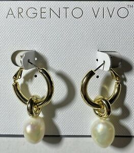 Argento-Vivo-18k-Gold-Plated-Pearl-Hoop-Earings-New