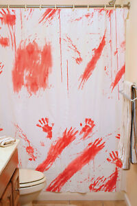 Image Is Loading Bloody Shower Curtain Psycho Hotel Bathroom Halloween  Horror