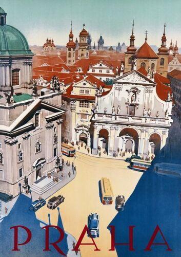 Vintage Prague Tourism Poster  A3 Print