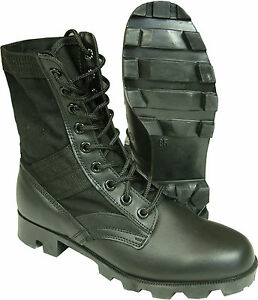 NEW-Jungle-Boots-Black-Military-Combat-Vietnam-Canvas-Leather-Walking-Army
