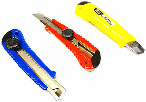Lot-of-Pro-Utility-Knife-Box-Cutter-Positive-Lock-Snap-Off-Blade-Razor-18mm-Wide