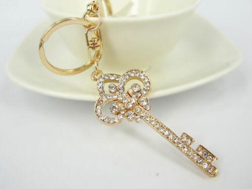 E Key Keyring Creative Rhinestone Crystal Charm Pendant Key Bag Chain Gift