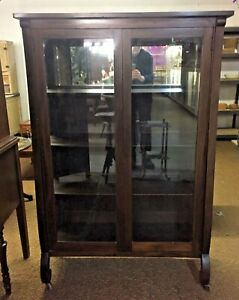 Vintage-2-Door-Glass-China-Cabinet-with-Mirror-Back-Empire-Legs
