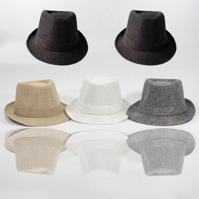 Men Women Trilby Fedora Summer Beach Hat Sun Jazz Panama Gangster Cap56-58cm Hot