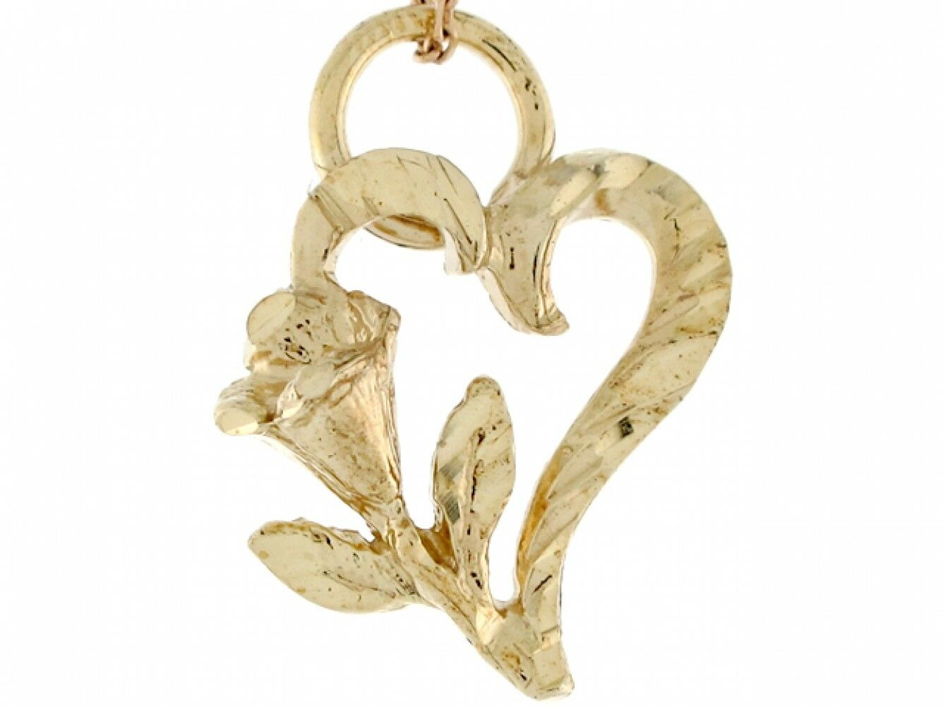 10k or 14k Yellow gold Unique Floral Floating Heart Designer Slide Pendant