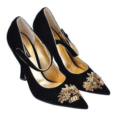 DOLCE & GABBANA RUNWAY Barock Gold Pumps Schuhe Schwarz Baroque Black 03010