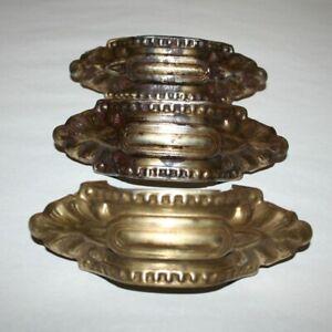 Vintage Drawer Pulls Set of 3 Antique Brass Color Stamped Embossed Tin