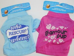 Puppy-Dog-T-Shirts-TWO-Very-Small-Who-Rescued-Whom-amp-Glamour-Pup-Size-Small
