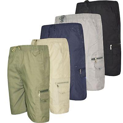 Rational Mens Plain Plus Size 3/4 Casual Elasticated Cargo Summer Combat Shorts Pants Reinigen Der MundhöHle.