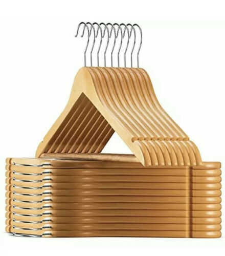 High-Grade Wooden Suit Hangers 30 Pack Solid Wood Coat Hanger W// Cut Notches