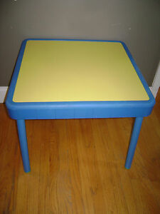 Details About 1985 VTG Fisher Price Child Size Table Blue Yellow Preschool  Arts Crafts RARE