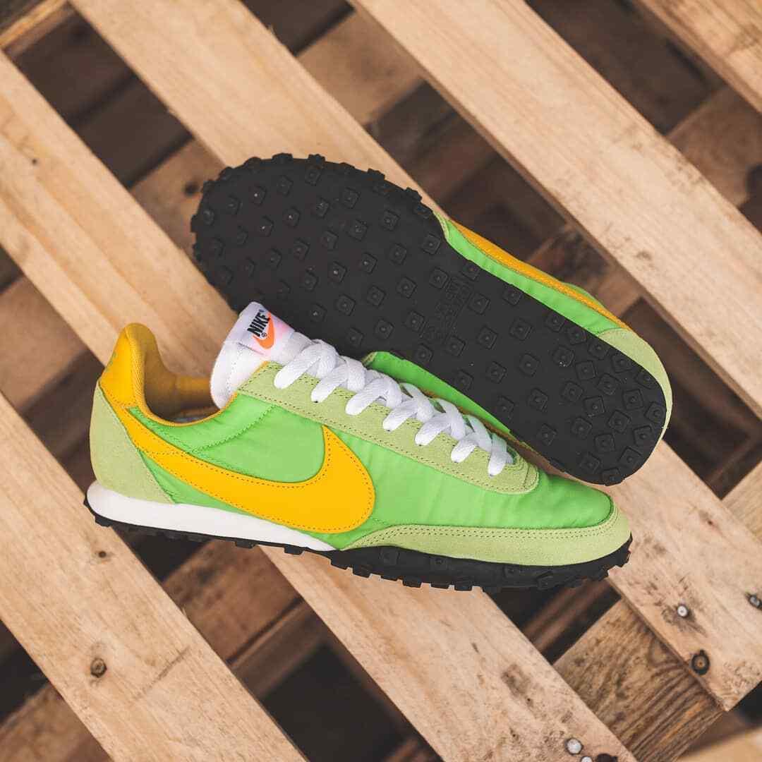 Nike Waffel Racer Herren Grün Gelb Weiß Turnschuhe Schuhe Turnschuhe UK Größe 7-11